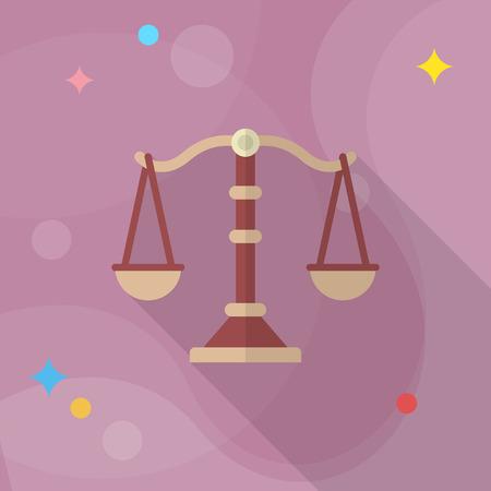 Justice icon , Vector flat long shadow design.