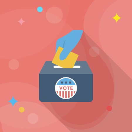 Ballot box icon , Vector flat long shadow design.