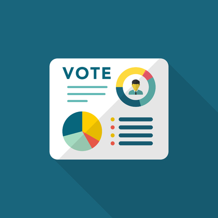 Vote analysis icon , Vector flat long shadow design.