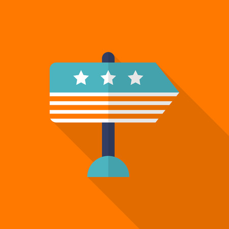 elect: Vote here icon , Vector flat long shadow design.