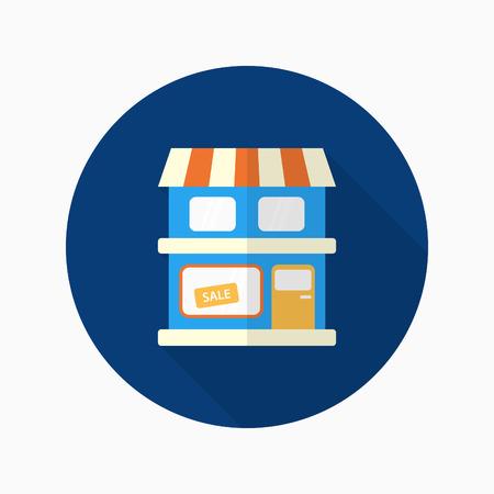 shop show window: Store icon, Vector flat long shadow design.