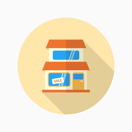 mujer en el supermercado: Store icon, Vector flat long shadow design.