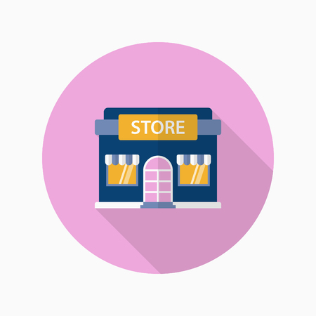 Store icon, Vector flat long shadow design.