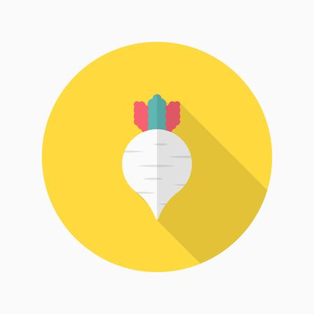 radish: Radish icon, Vector flat long shadow design. Illustration