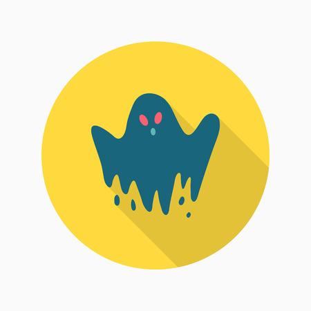 Halloween ghost icon, Vector flat long shadow design. Halloween concept.