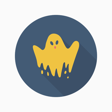 ghostly: Halloween ghost icon, Vector flat long shadow design. Halloween concept.