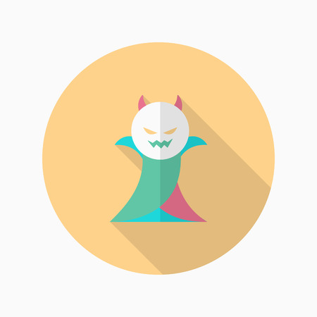 inhumane: Halloween vampire icon, Vector flat long shadow design. Halloween concept.