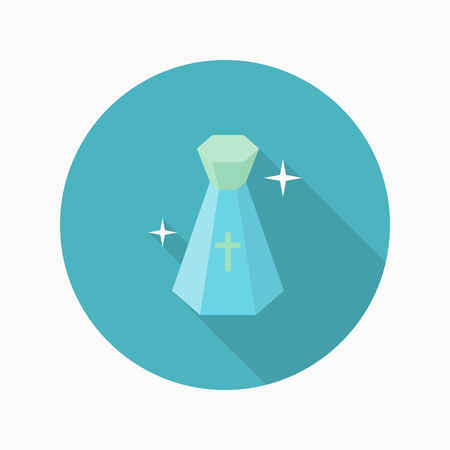 good heavens: Holy water icon, Vector flat long shadow design. Halloween concept.