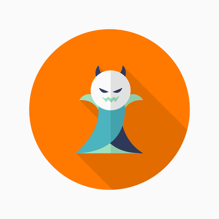 inhumane: Halloween vampire icon, Vector flat long shadow design. Halloween concept.