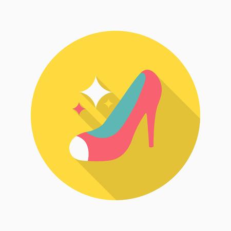 High-heeled shoe icon, Vector flat long shadow design.