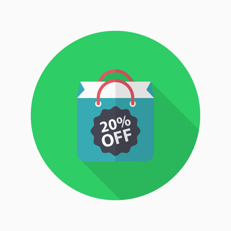 Shopping bag icon, Vector flat long shadow design.
