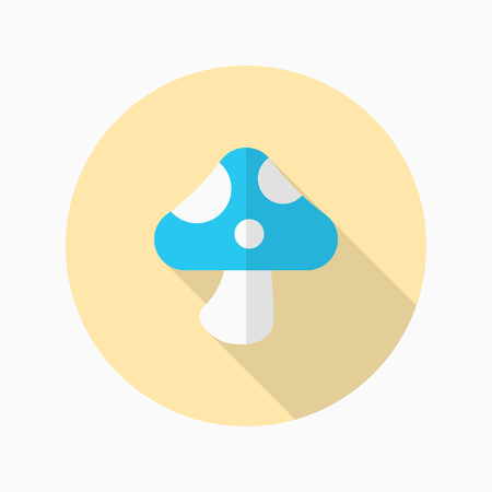 Mushroom icon, Vector flat long shadow design.