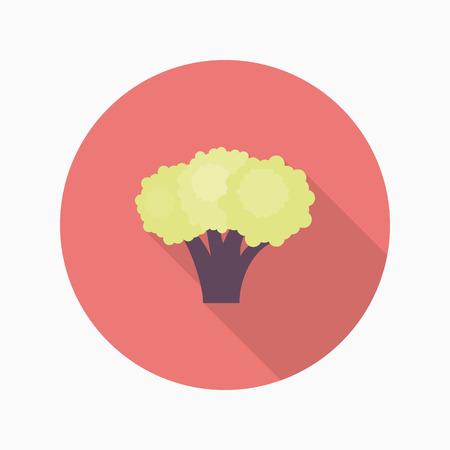 Broccoli pictogram, Vector platte lange schaduw design.