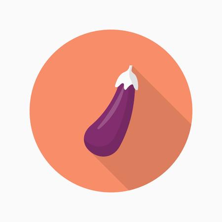 raw materials: Eggplant  icon, Vector flat long shadow design.