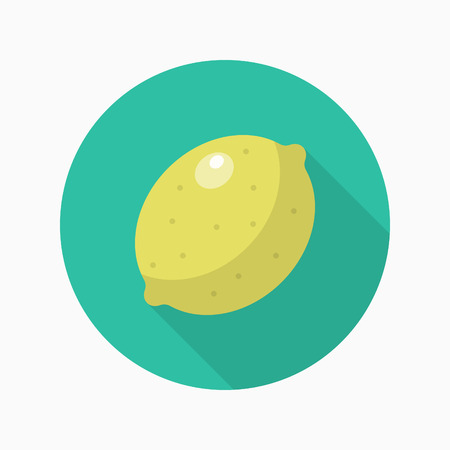 zest: Lemon icon, Vector flat long shadow design.