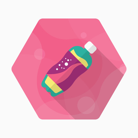 nonalcoholic: Soft Drinks icon, Vector flat long shadow design.