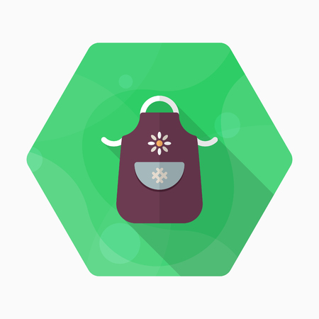 Kitchenware apron flat  icon with long shadow,circle,eps10,interface,button Illustration