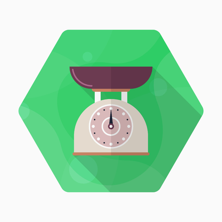 weight machine: Kitchenware scales flat  icon with long shadow,circle,eps10,interface,button Illustration