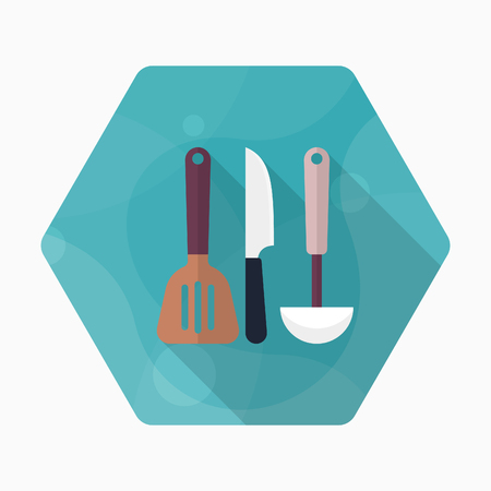 tablespoon: Kitchenware knife,spatula,spoon flat  icon with long shadow,circle,eps10,interface,button Illustration