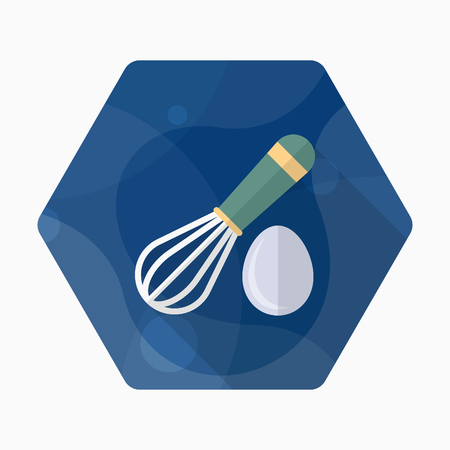 eggbeater: Kitchenware eggbeater flat  icon with long shadow,circle,eps10,interface,button