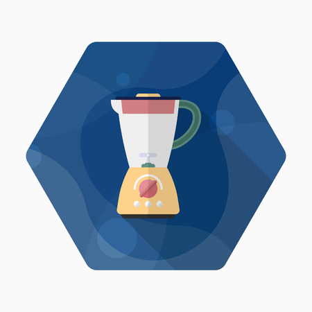 liquidizer: Kitchenware juicer flat  icon with long shadow,circle,eps10,interface,button Illustration