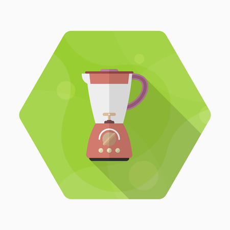 Kitchenware juicer flat  icon with long shadow,circle,eps10,interface,button Illustration