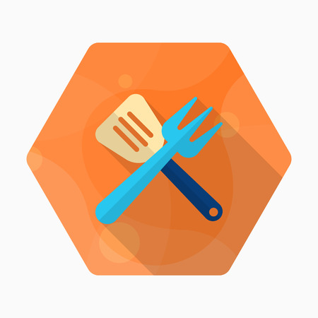 Barbecue utensils icon, Vector flat long shadow design.