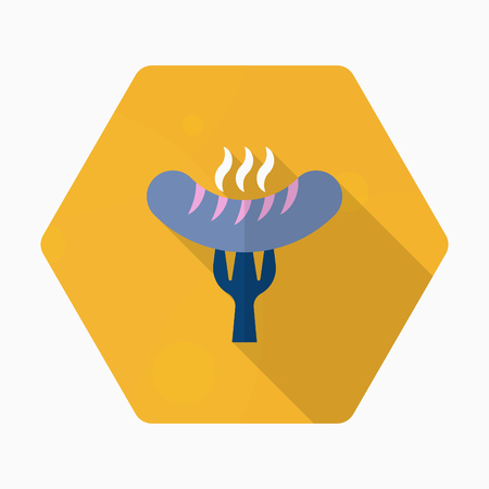 roasted: Barbecue sausage icon, Vector flat long shadow design.