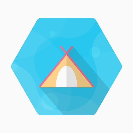 Tent icon, Vector flat long shadow design. Transport concept.