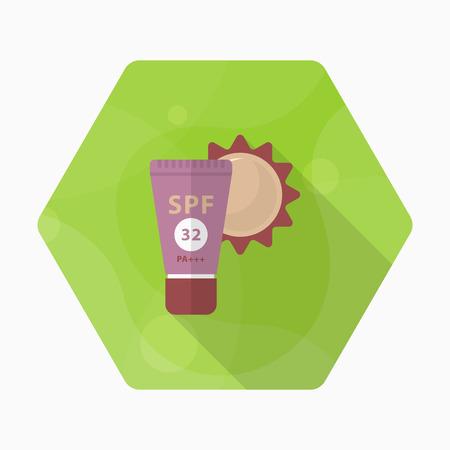 Sunscreen icon, Vector flat long shadow design. Transport concept.