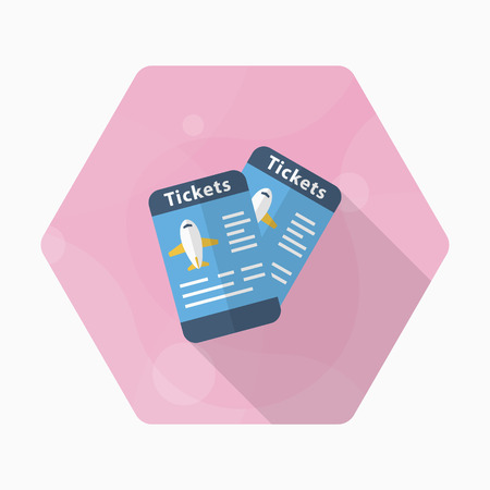 Airline ticket icon, Vector flat long shadow design. Transport concept. 向量圖像