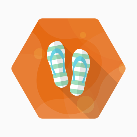 Flip-flops icon, Vector flat long shadow design. Transport concept.