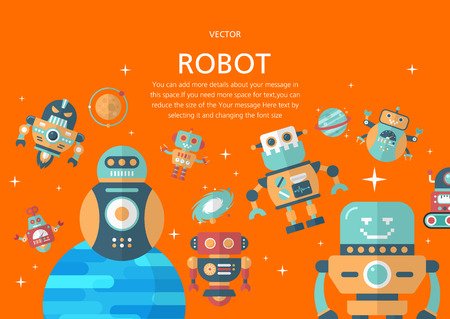 Robot concept in flat design style