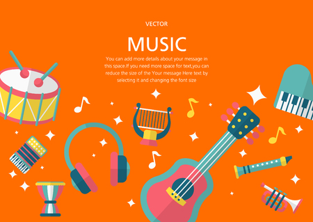 music concept in flat design style Illustration