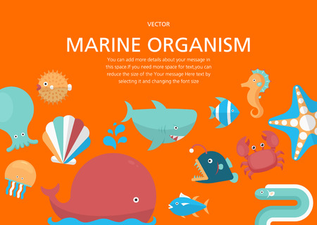 marine organism concept in flat design style