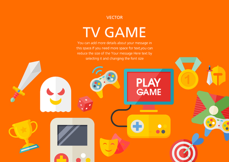 tv game concept in flat design style Ilustrace