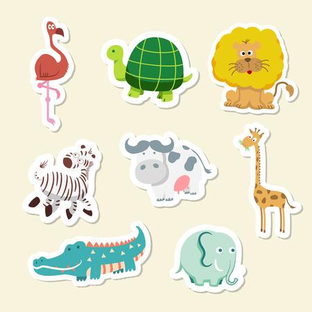 牛、ワニ、キリン、ライオン、亀、シマウマなどかわいい動物セットのベクトル イラスト 写真素材 - 67562802