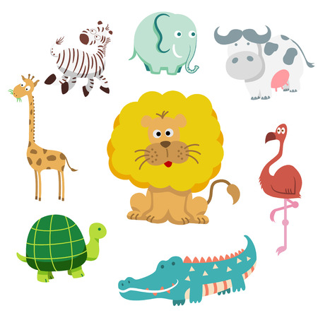Vector illustration of cute animal set including  cow, crocodile, giraffe,  lion, Tortoise and zebra