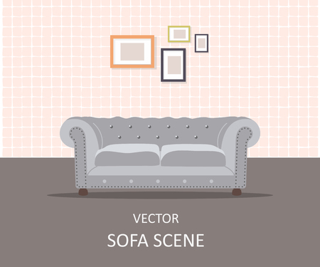 Home interior. Interior design of a living room for web site, print, poster, presentation, infographic. Flat design illustration.