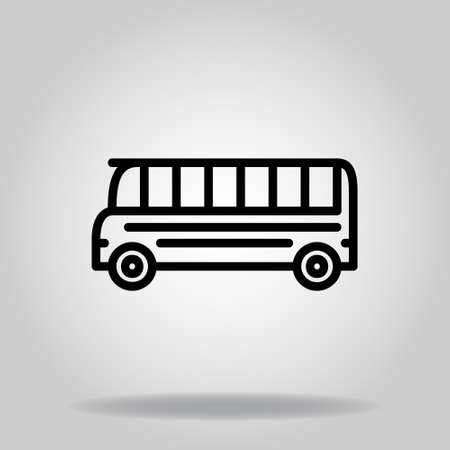 symbol of school bus icon with black line style