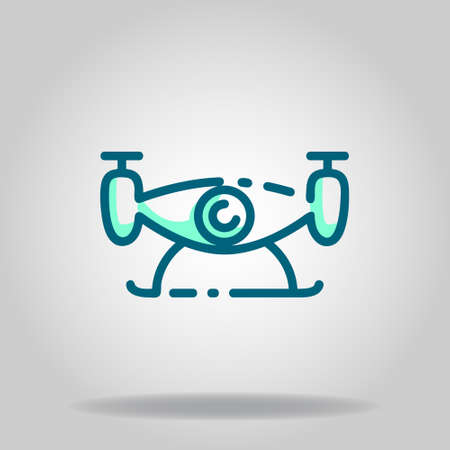 Logo or symbol of drone icon with twotone blue color style
