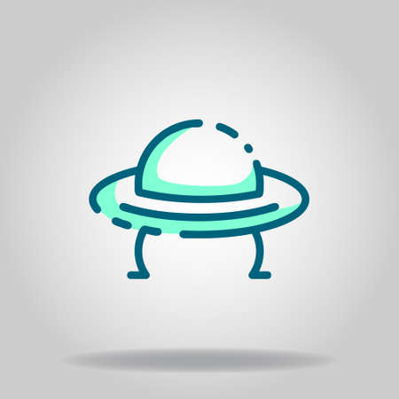 Logo or symbol of ufo icon with twotone blue color style