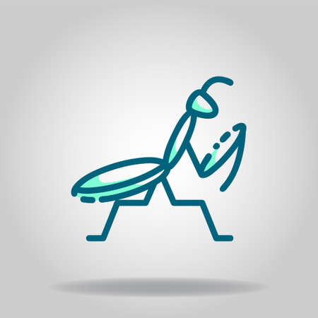 Logo or symbol of praying mantis icon with twotone blue color style