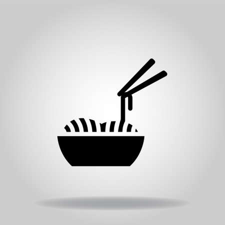 Logo or symbol of noodles icon with black fill style