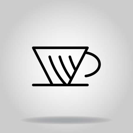 Logo or symbol of coffe maker v60 icon with outline style