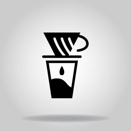 Logo or symbol of coffe maker v60 icon with twotone blue color style Logo