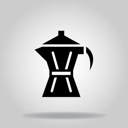 Logo or symbol of moka pot icon with twotone blue color style