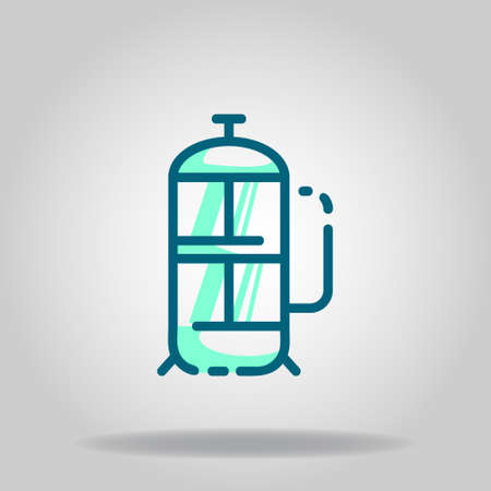 Logo or symbol of french press icon with twotone blue color style Logo
