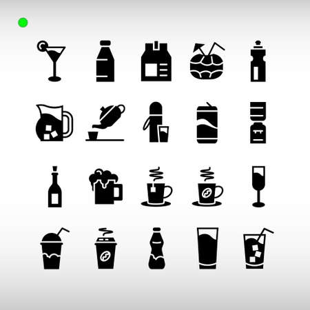 beverage icon set in black or glyph style, unique design, expanded stroke, and editable vector with any color or size what you like