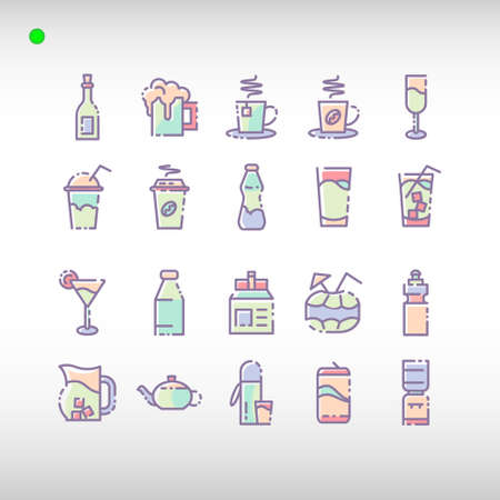 beverage icon set in flat color style, unique design, expanded stroke, and editable vector with any color or size what you like